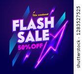 flash sale neon night banner... | Shutterstock .eps vector #1283527525