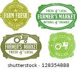 vintage style farmer's market... | Shutterstock .eps vector #128354888