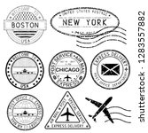postmarks and travel stamps.... | Shutterstock . vector #1283557882