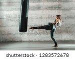 caucasian woman in sportswear... | Shutterstock . vector #1283572678