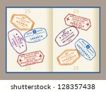 colorful visa stamps  not real  ... | Shutterstock .eps vector #128357438