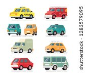 set of vector colorful cars in... | Shutterstock .eps vector #1283579095