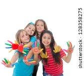 group of happy children having... | Shutterstock . vector #128358275