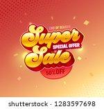 super sale 3d golden typography ... | Shutterstock .eps vector #1283597698