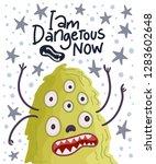 cute cartoon vector monster in...   Shutterstock .eps vector #1283602648