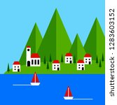 landscape with sea  ships and... | Shutterstock . vector #1283603152