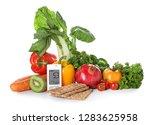 digital glucometer with healthy ... | Shutterstock . vector #1283625958
