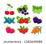 set of garden berries vector... | Shutterstock .eps vector #1283640088