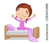 cute girl waking up in pretty... | Shutterstock .eps vector #1283641888