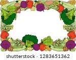 health food. vegetable frame.... | Shutterstock .eps vector #1283651362