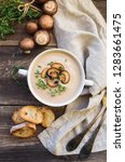 creamy mushroom soup with...   Shutterstock . vector #1283661475