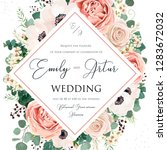 floral wedding invitation... | Shutterstock .eps vector #1283672032