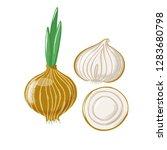 bulb onion set   whole  half...   Shutterstock .eps vector #1283680798