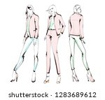 stylish fashion models. pretty... | Shutterstock .eps vector #1283689612
