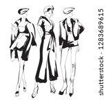 stylish fashion models. pretty... | Shutterstock .eps vector #1283689615