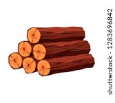 stack of firewood materials for ... | Shutterstock .eps vector #1283696842