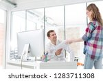 young businesswoman giving...   Shutterstock . vector #1283711308