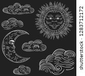 hand drawn clouds  crescent... | Shutterstock .eps vector #1283712172