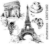 arco,construção,café,grão de café,xícara de café,tempo de café,crescente,café e croissant,croissant isolado,torre eiffel,torre eiffel isolado,vetor de torre eiffel,edifícios famosos,cidades famosas,lugares famosos
