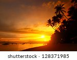 Sandy Beach With Palm Trees At...