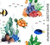 underwater creatures.watercolor ... | Shutterstock . vector #1283723458
