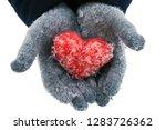 woman's hands wearing woolen... | Shutterstock . vector #1283726362