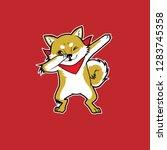 dab shiba inu illustration | Shutterstock .eps vector #1283745358