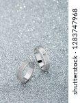 pair of white gold wedding...   Shutterstock . vector #1283747968