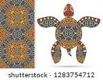 decorative doodle turtle with... | Shutterstock .eps vector #1283754712
