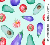 watercolor seamless vegetable... | Shutterstock . vector #1283764942
