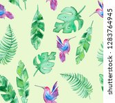 watercolor summer pattern with... | Shutterstock . vector #1283764945