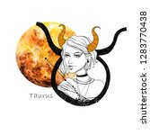 zodiac sign taurus. beautiful...   Shutterstock . vector #1283770438