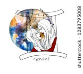 zodiac sign gemeni. two... | Shutterstock . vector #1283795008