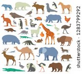 big collection animals  | Shutterstock . vector #1283799292