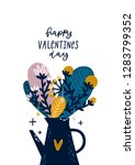 valentines day card with cute... | Shutterstock .eps vector #1283799352