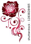 red tribal tattoo rose ... | Shutterstock . vector #1283828485