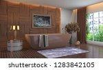 bathroom interior. 3d...   Shutterstock . vector #1283842105