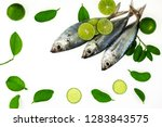 fresh fish and lime isolated on ... | Shutterstock . vector #1283843575