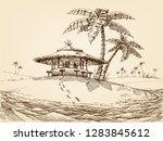 sea shore landscape. beach bar... | Shutterstock .eps vector #1283845612