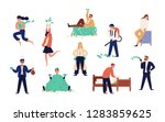 Bundle of rich men and women isolated on white background. Set of careless wealthy people, moneybags or nouveau riches throwing money bills, carrying and hiding them. Flat cartoon vector illustration.
