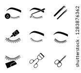 eyelash extension glyph icons... | Shutterstock .eps vector #1283876362