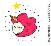 cute head unicorn icon. hand... | Shutterstock .eps vector #1283877412