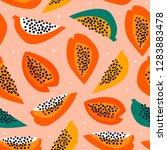 hand drawn papaya. paper cut...   Shutterstock .eps vector #1283883478