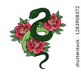 tattoo with rose and snake.... | Shutterstock .eps vector #1283908372