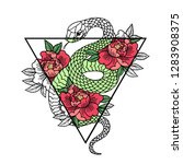 tattoo with rose and snake.... | Shutterstock .eps vector #1283908375