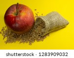 red apple  fresh raw wheat... | Shutterstock . vector #1283909032