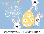 happy easter greeting card with ...   Shutterstock .eps vector #1283914855