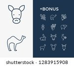 zoo icon set and snake with...