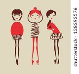 fashion girls posing isolated on light background vector illustration eps 10 - stock vector