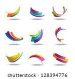 abstract 3d icon set with... | Shutterstock . vector #128394776